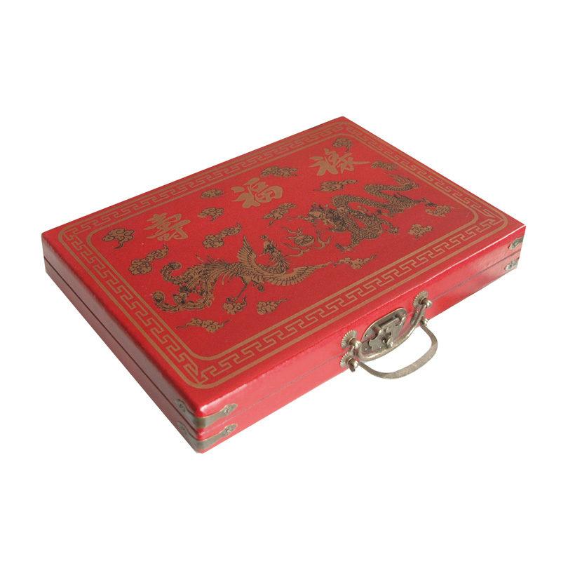 Mahjong in houten koffer M rood