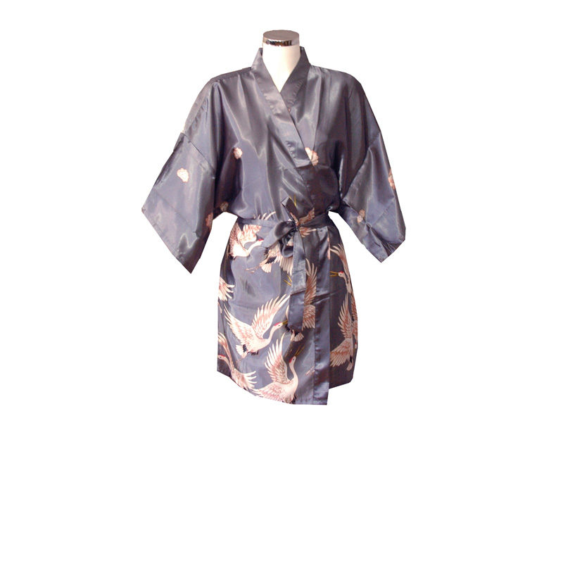 Chinese Kimono Grey with Crane Bird Design Short e86a5c1ce