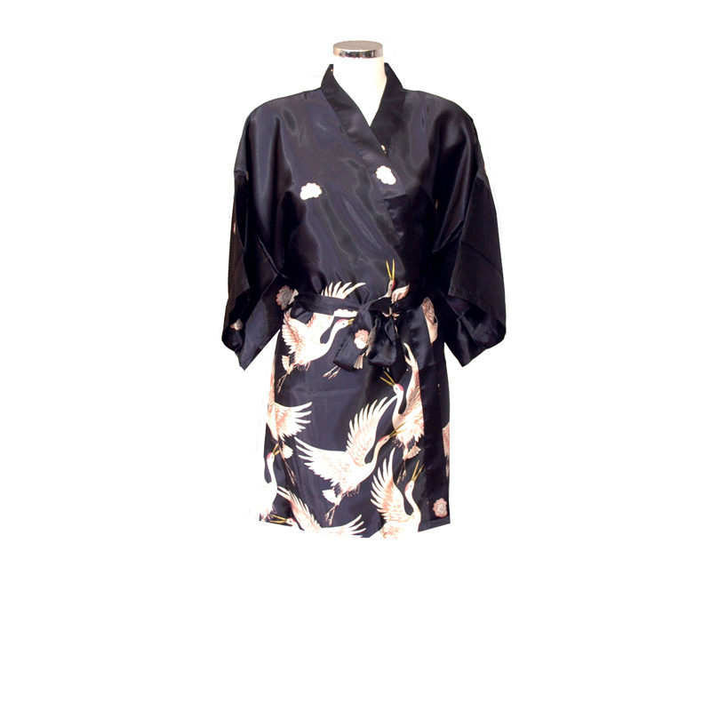Chinese Kimono Black with Crane Bird Design Short 51820c84b