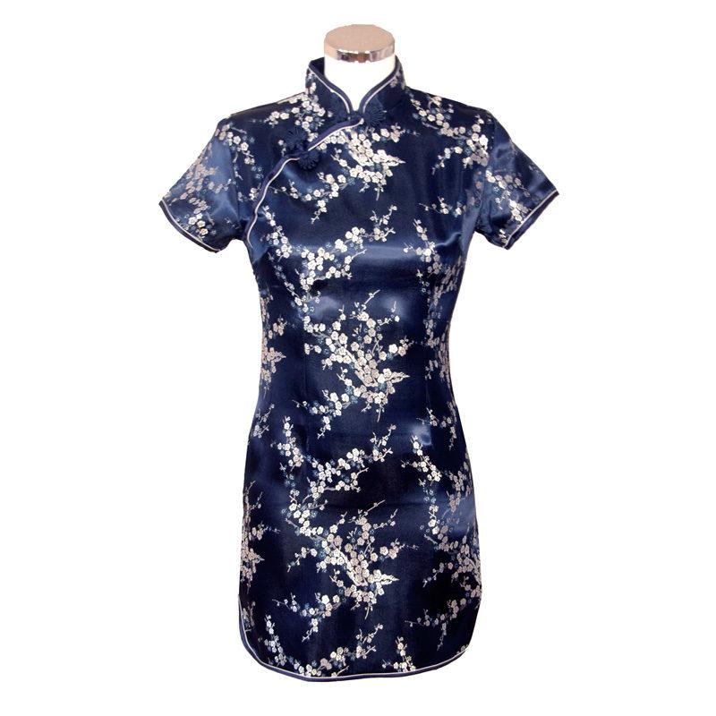 Chinese jurk kort blauw zilver blossom