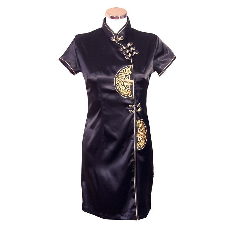 Chinese jurk kort zwart goud lang leve