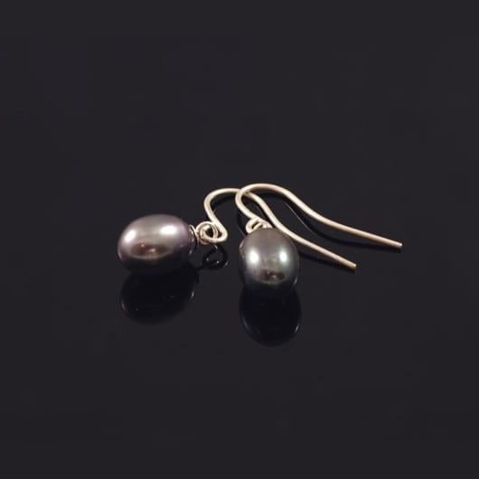 Oorbel Hanger Zilver met Zwarte 9 mm Parel