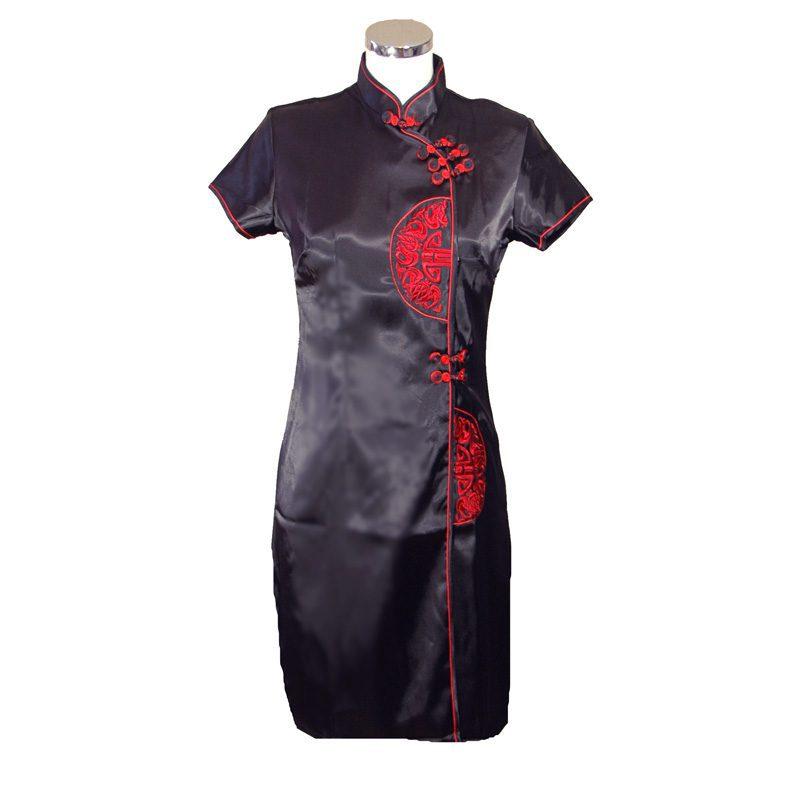 Chinese Jurk Kort Zwart