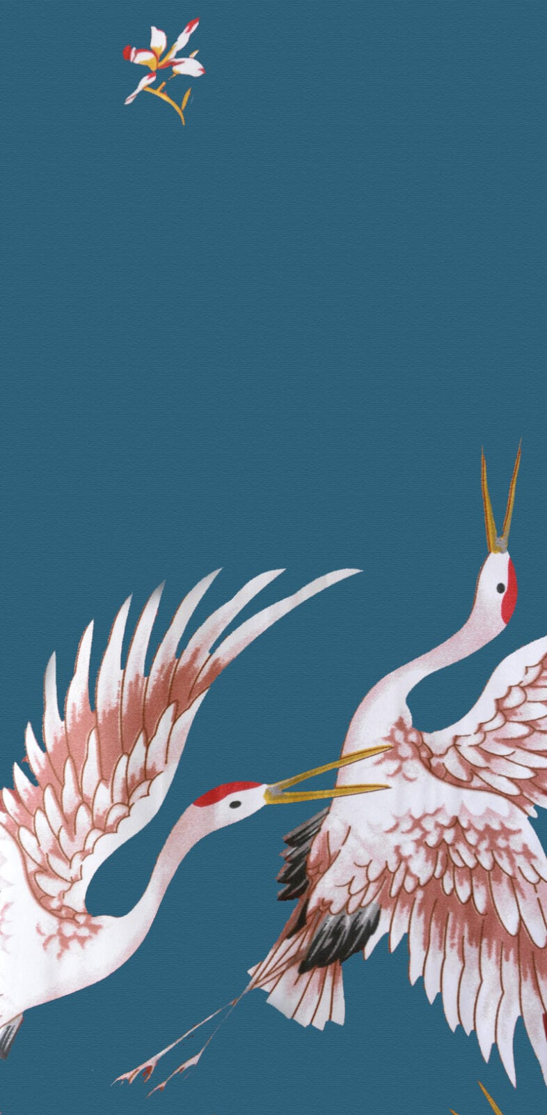 Chinese Kimono Kraanvogels Blauw Detail