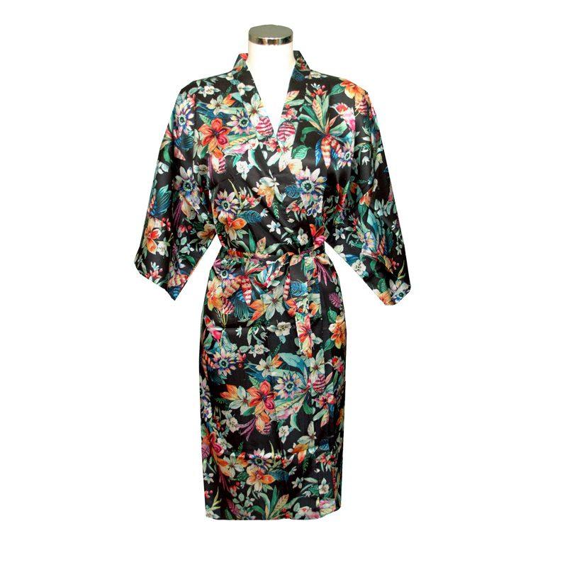 Chinese Kimono Sea of Flowers Black
