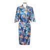 Chinese Kimono Sea of Flowers Blue