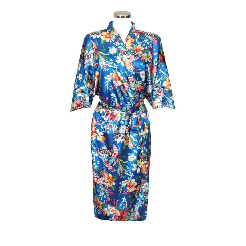 Chinese Kimono Sea of Flowers Blue