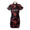 Chinese jurk kort zwart rood blossom
