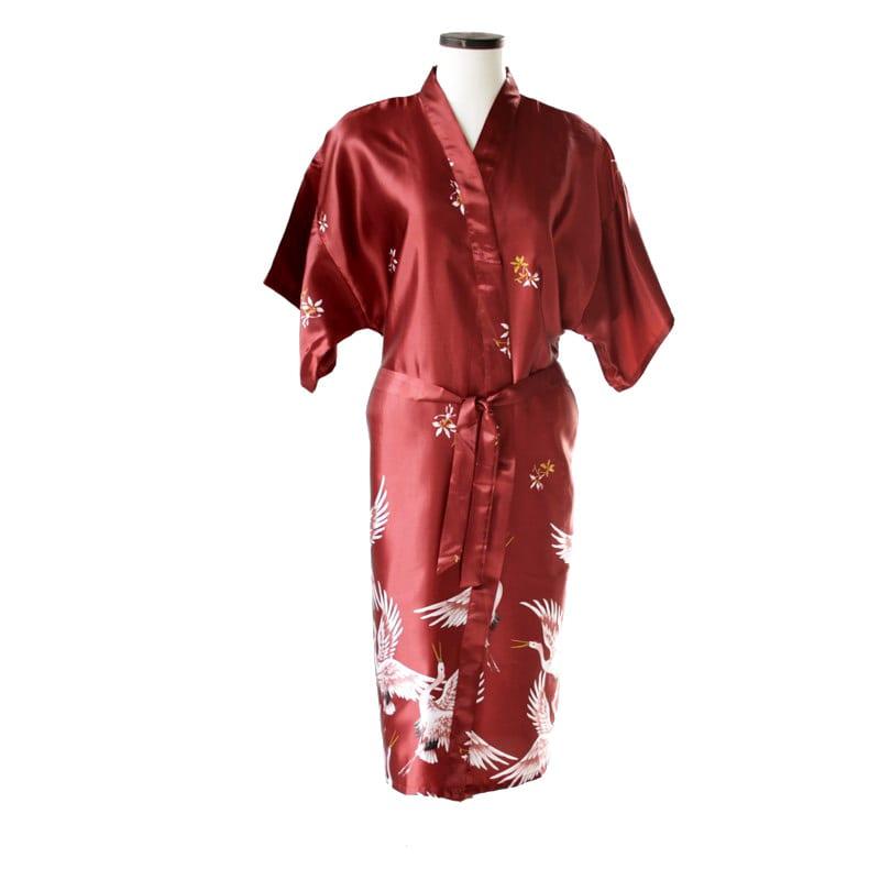 Chinese kimono kraanvogel lang rood