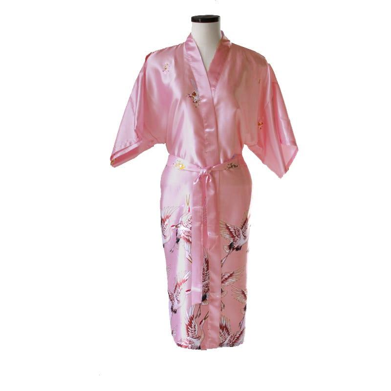 Chinese kimono kraanvogel lang roze