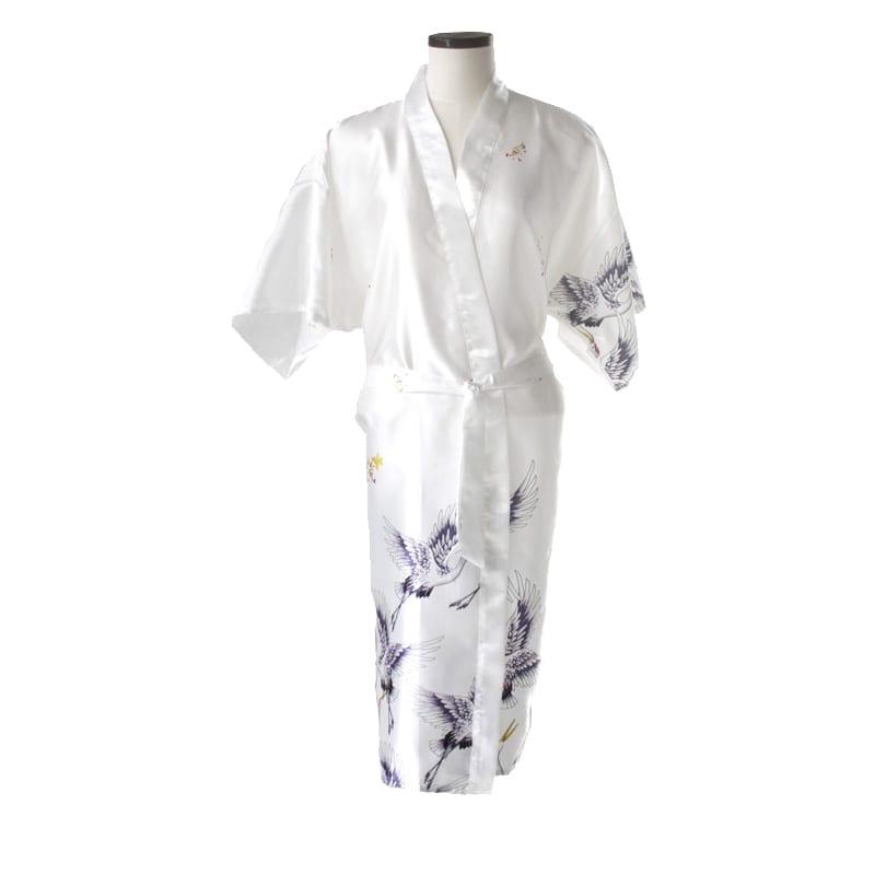 Chinese kimono kraanvogel lang wit