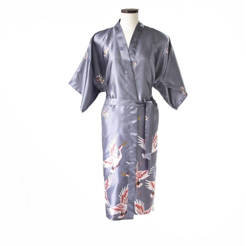 Chinese kimono kraanvogel lang zilver