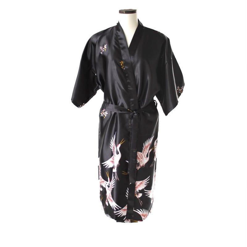 Chinese kimono kraanvogel lang zwart