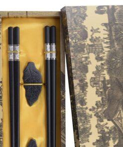 Eetstokjes Set2 Zwart Zilver detail
