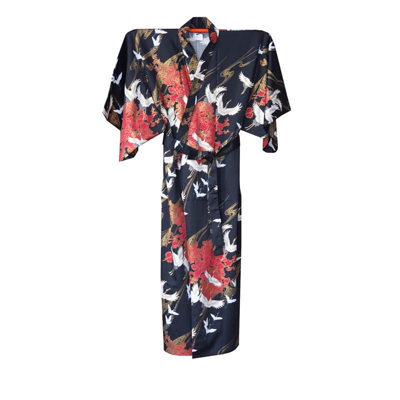 Japanse Yukata Kimono Kraanvogel Zwart 2