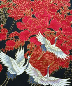 Japanse Yukata Kimono Kraanvogel Zwart detail 2