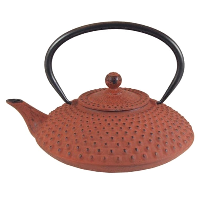 Japanse gietijzeren theepot rood nop groot