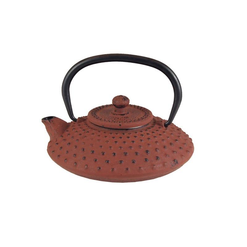Japanse gietijzeren theepot rood nop klein