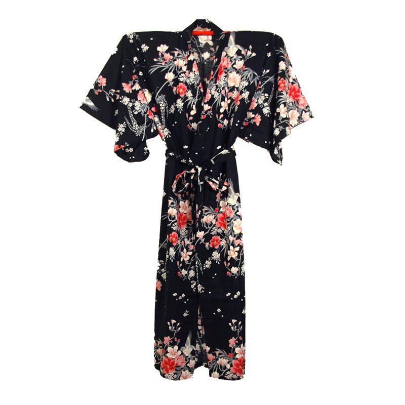 Japanse kimono yukata zwart met bloemen