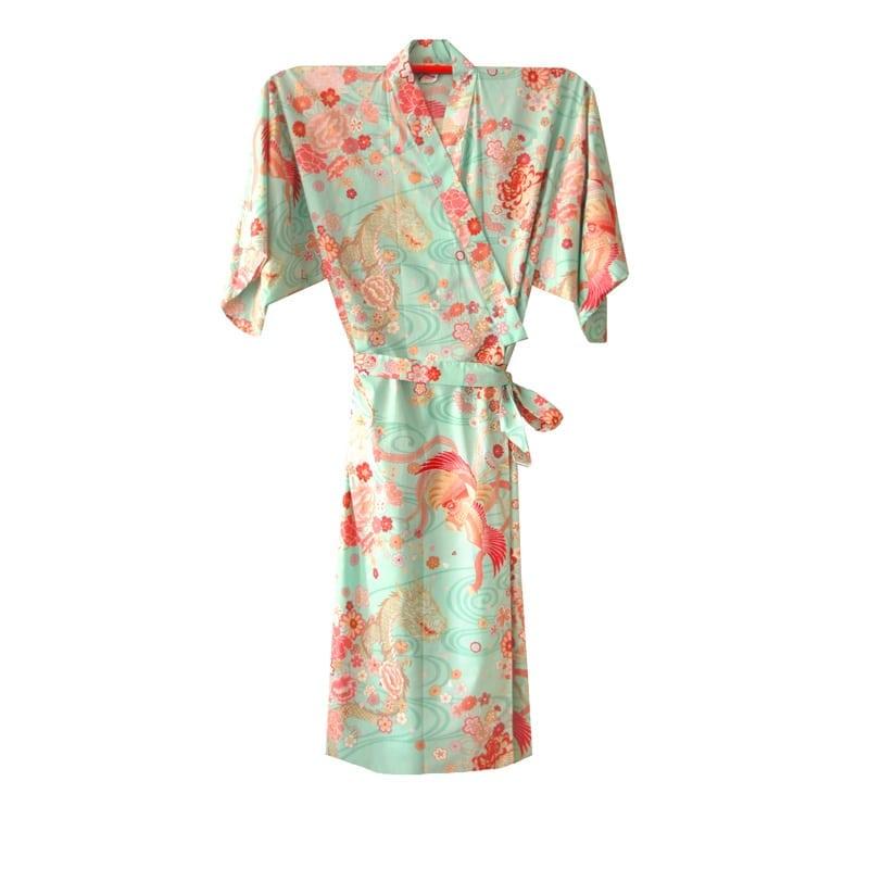 Japanse yukata kimono draak phoenix groen