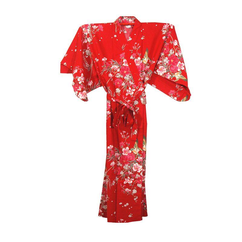 Japanse kimono yukata rood met bloemen