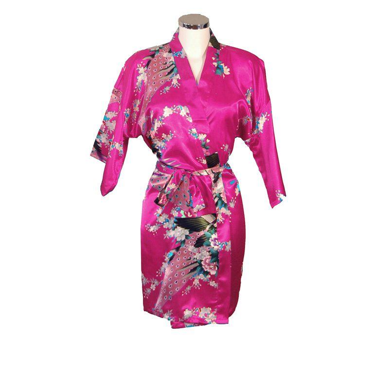 Korte Kimono Pauw Fuchsia