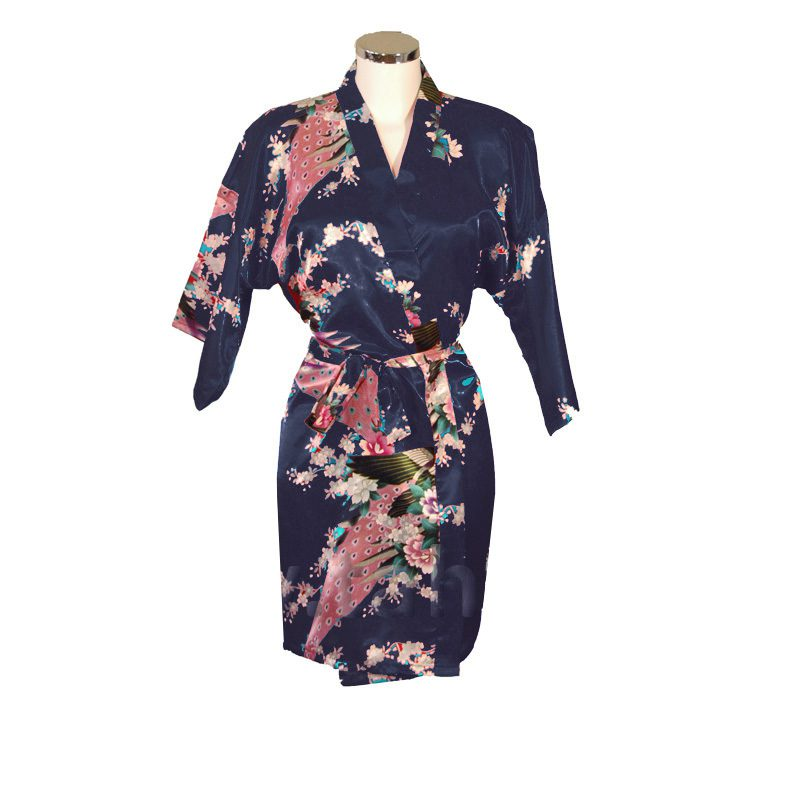 Korte Kimono Pauw blauw