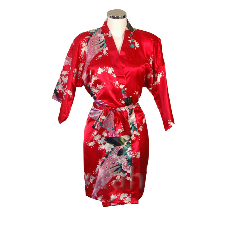Korte Kimono Pauw rood