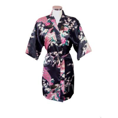 Korte Kimono Pauw zwart kopen