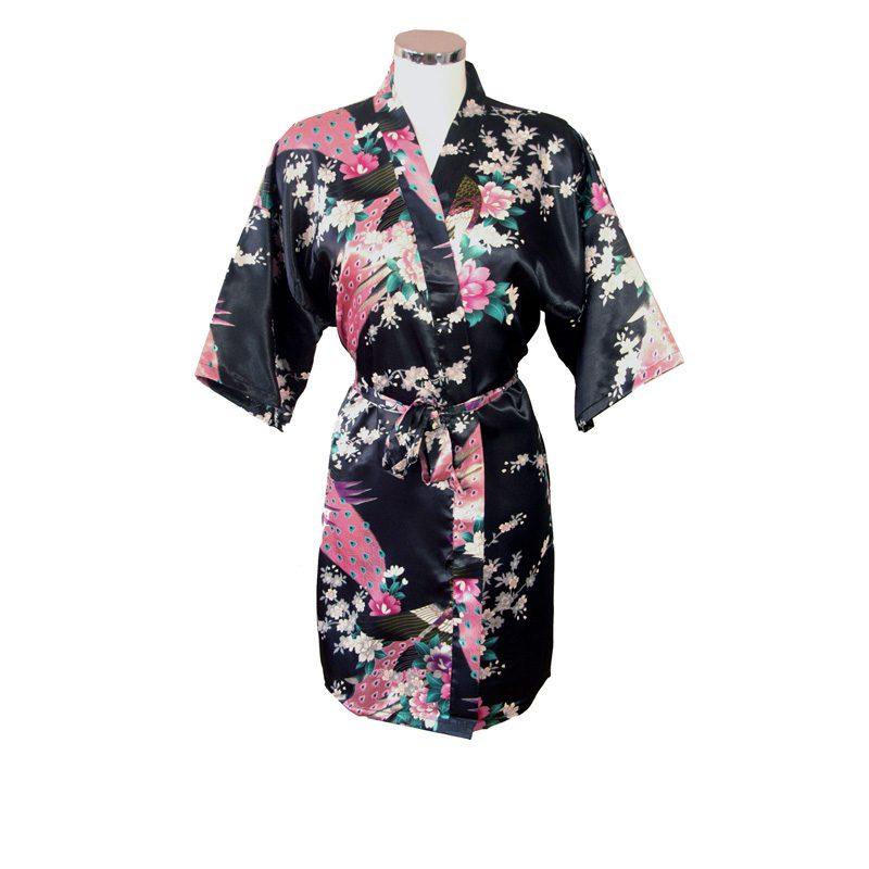 Korte Kimono Pauw zwart
