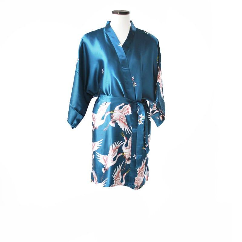 Korte kimono kraanvogel blauw