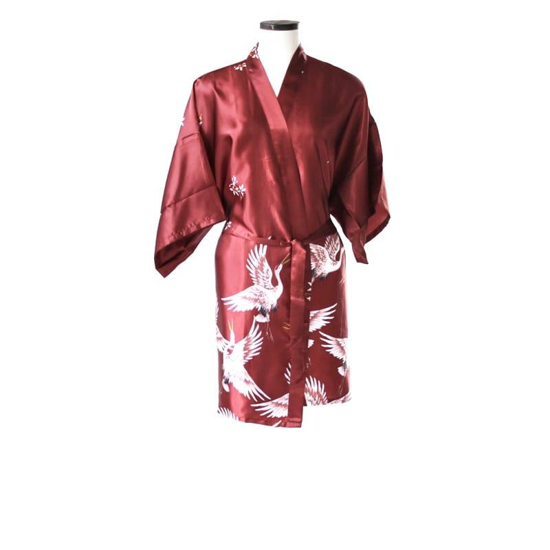 Korte kimono kraanvogel rood