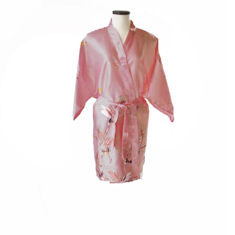 Korte kimono kraanvogel roze 2