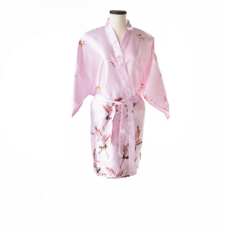 Korte kimono kraanvogel roze