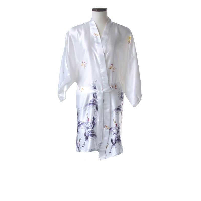 Korte kimono kraanvogel wit