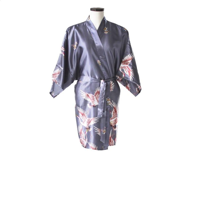 Korte Kimono Kraanvogel Zilver