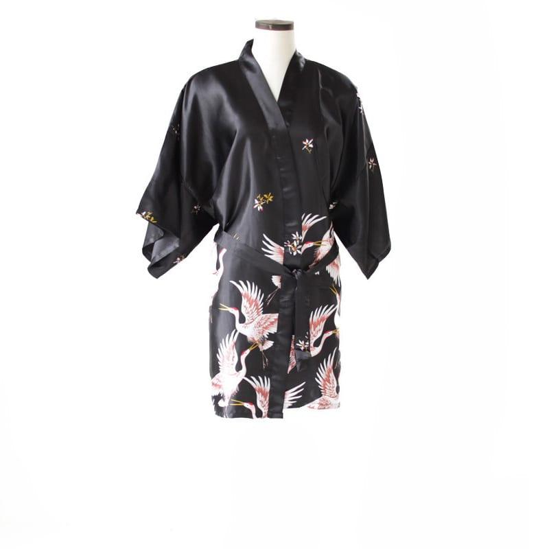 Korte Kimono Kraanvogel Zwart
