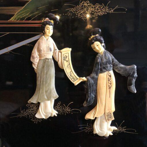 Lacquer Kamerscherm met Damesfiguren Detail