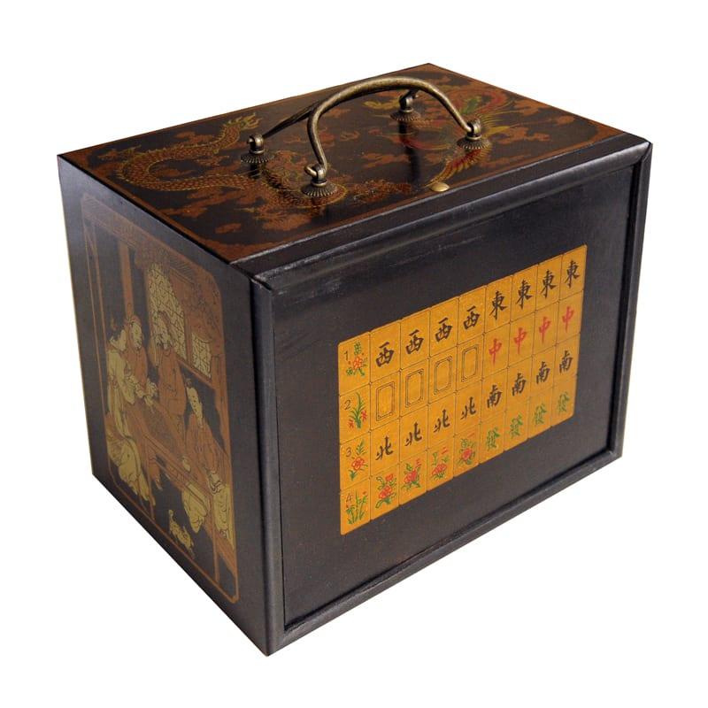Mahjong houten kistje zwart