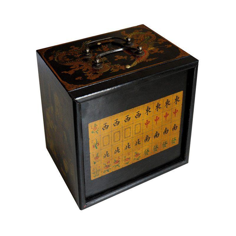 Mahjong houten kistje zwart S