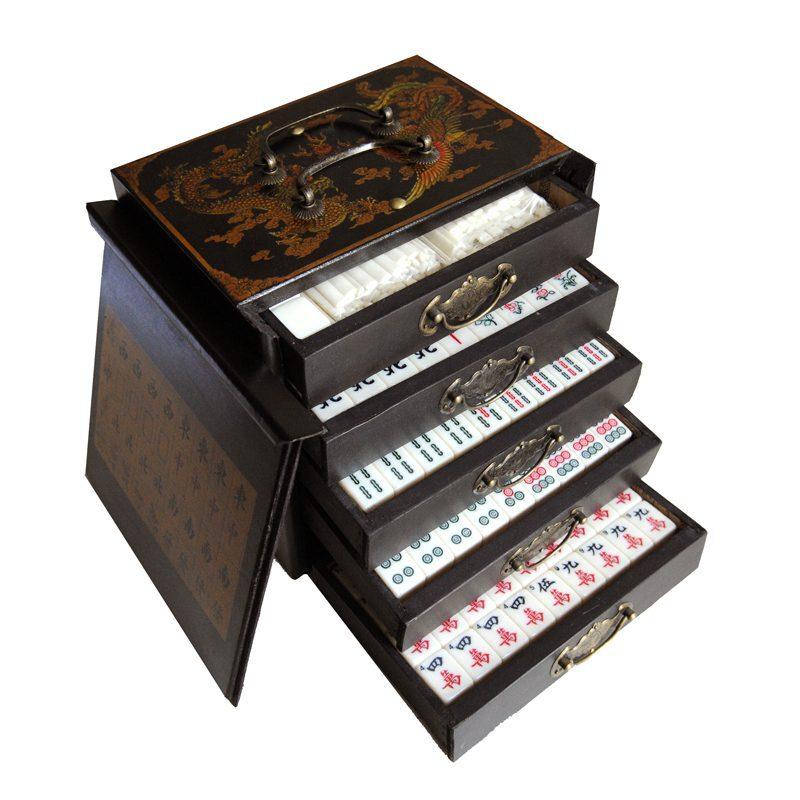 Mahjong houten kistje zwart S open