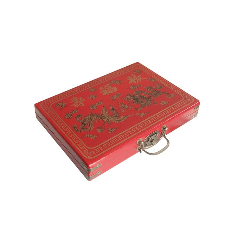 Mahjong in houten koffer S rood