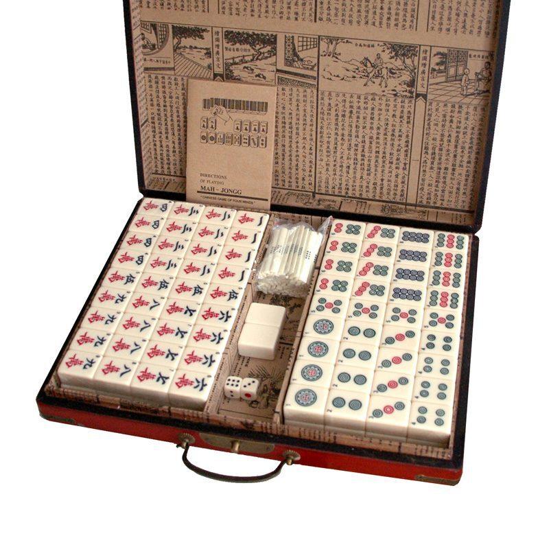 Mahjong in leren doos L