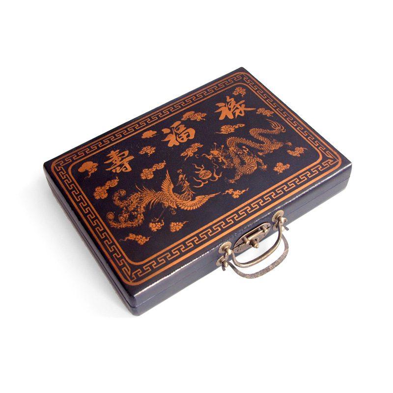 Mahjong in zwarte houten doos S