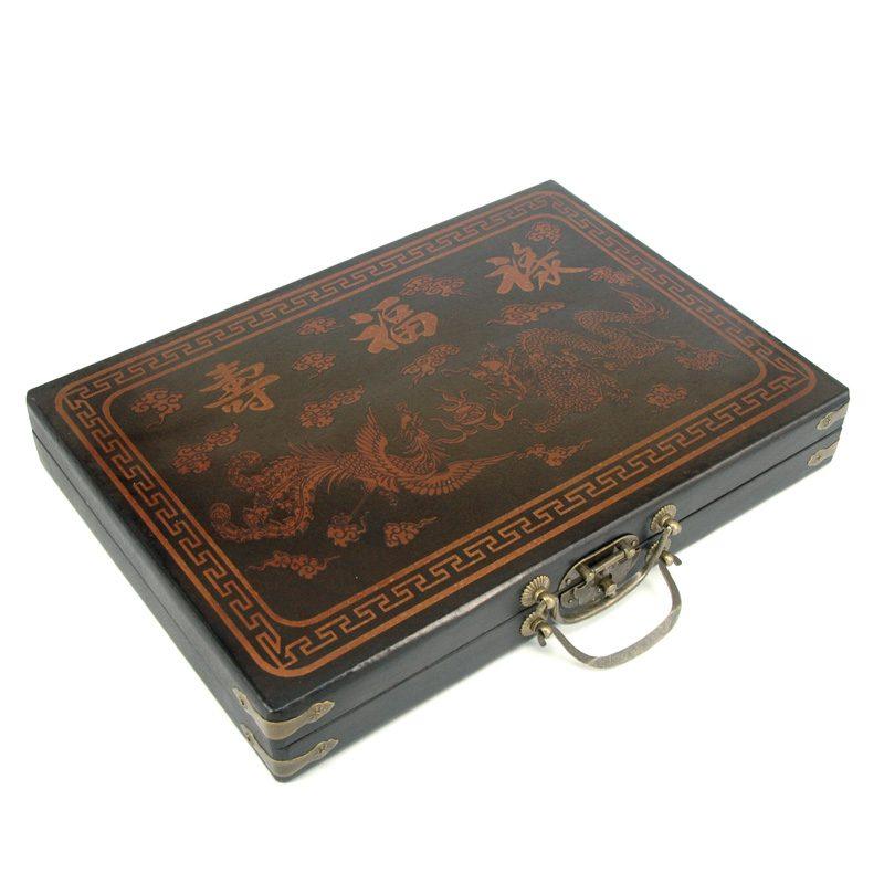 Mahjong in zwarte houten koffer M