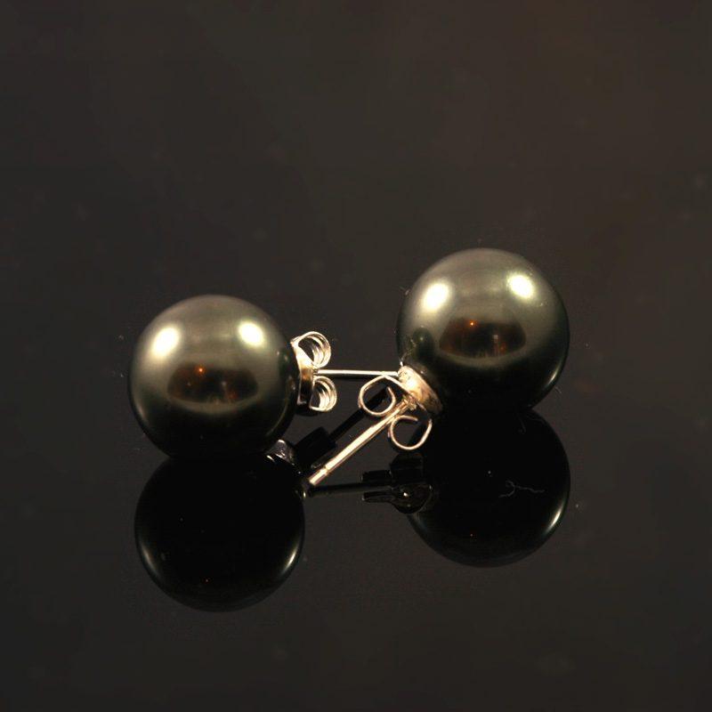 Oorbellen met reuzen parel zwart