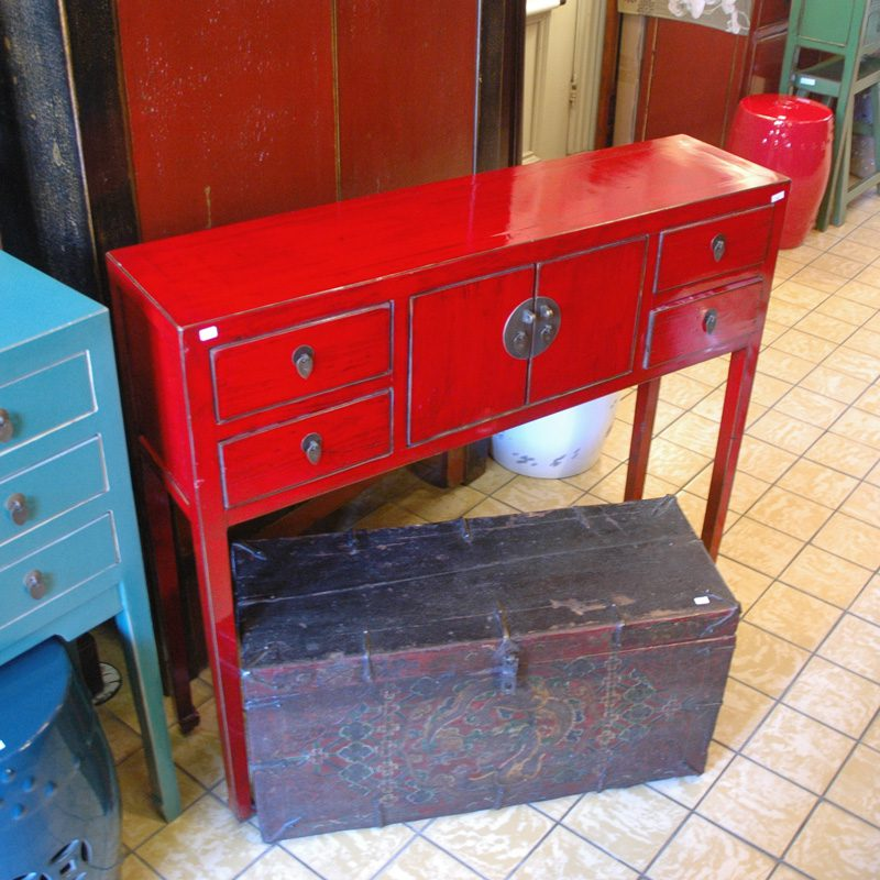 Zwarte Chinese Sidetable.Chinese Sidetable Rood