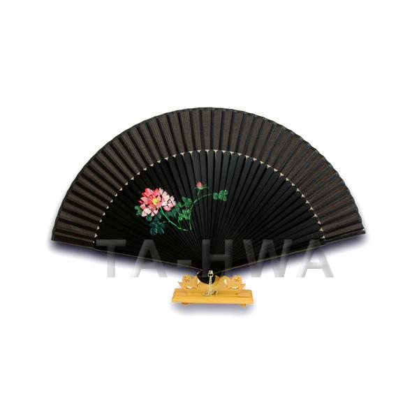 Waaier Zwart met Chinese Roos