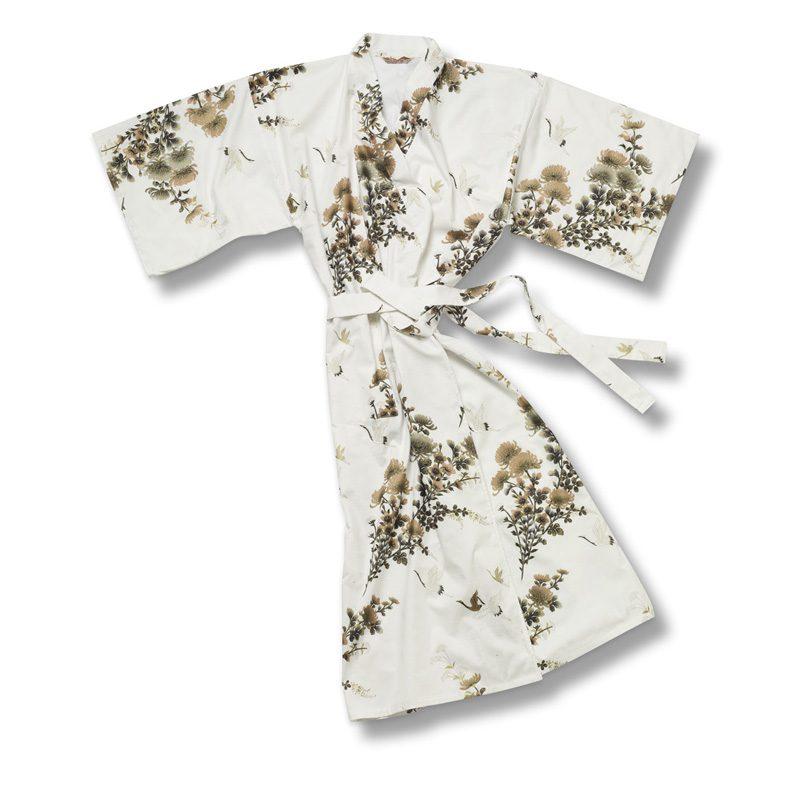 Yukata Kimono Crane White Gold