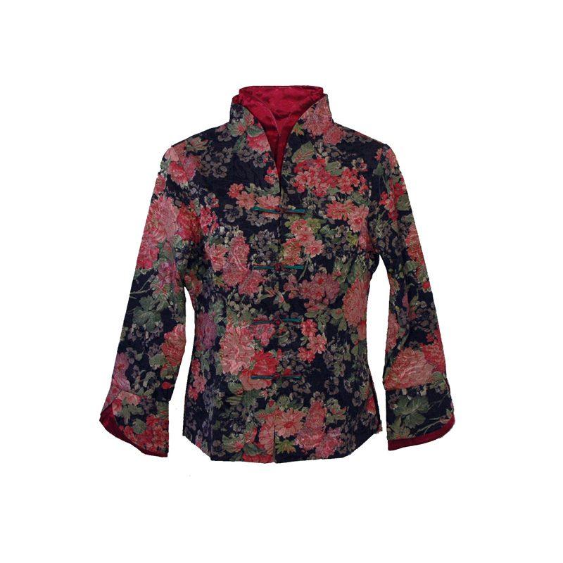 dames jasje bloem zwart